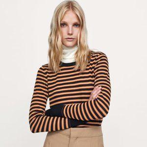 Zara Textured Striped Long Sleeve Sweater Shirt XS